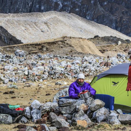 Trek Huayhuash: camp Sarapococha
